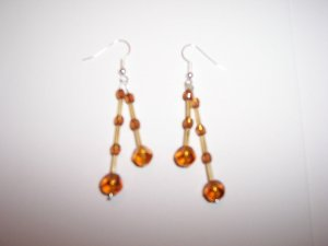 Amber effect twin drop earrings