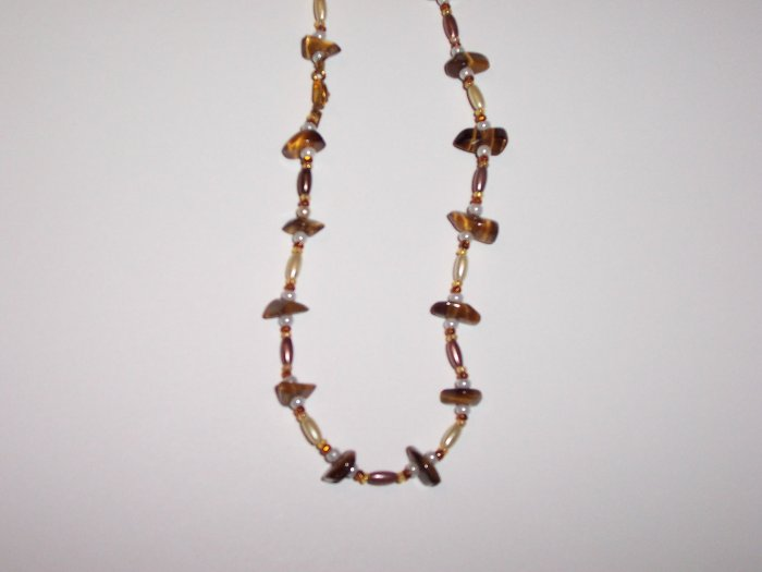 Tigers eye gemstone beaded necklace.