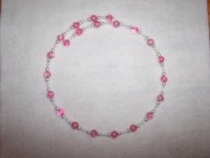 Pink crackle bead choker