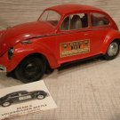 Jim Beam Burbon Whiskey Bottle Red Volkswagen Bug with Registration