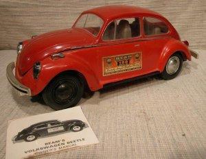 Jim Beam Burbon Whiskey Bottle Red Volkswagen Bug with Registration