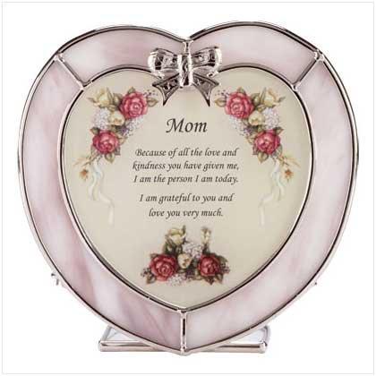GLASS MOM HEART TEALIGHT HOLDER