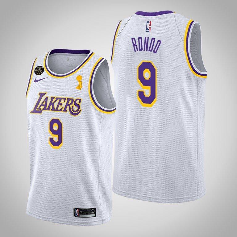 2020 NBA Finals Champions Rajon Rondo Lakers Association White Jersey
