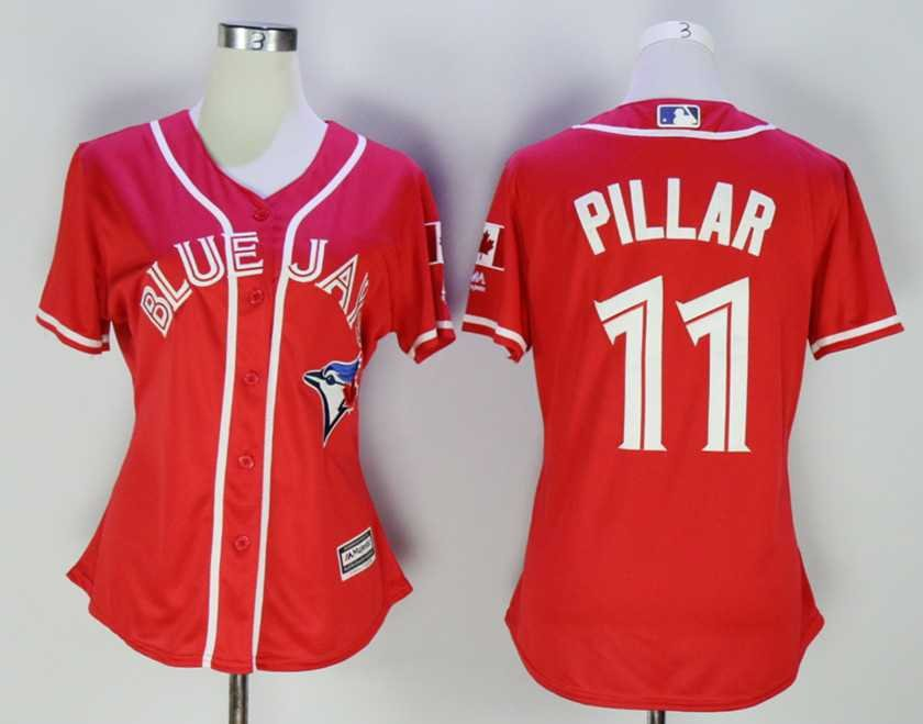 info for c983c 5f655 Women Toronto Blue Jays #11 Kevin Pillar Red Alternate Jersey