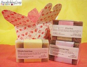 Soap Gift set of cold process soap Olive Rose, Chlorella, Lavender