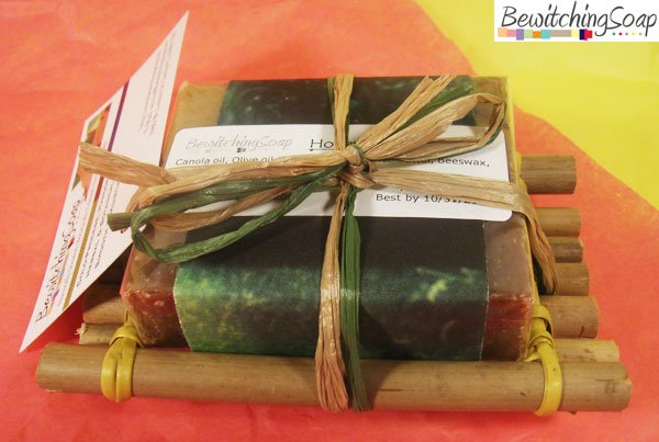 One-Soap gift set w/ Honey Cinnamon Shea Butter cold-process soap & Bamboo soap dish