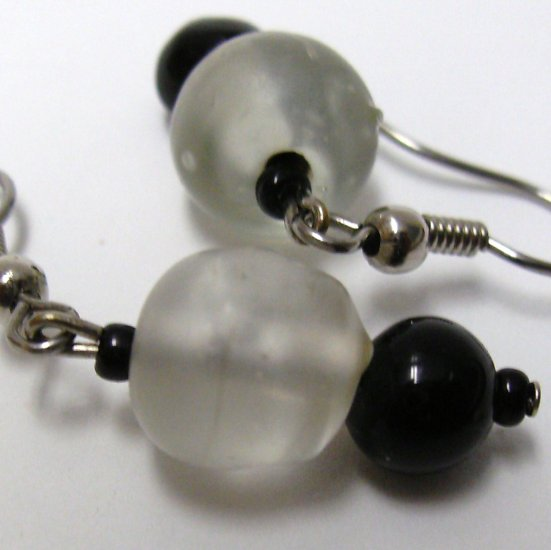 Clear And Black Glass Earrings