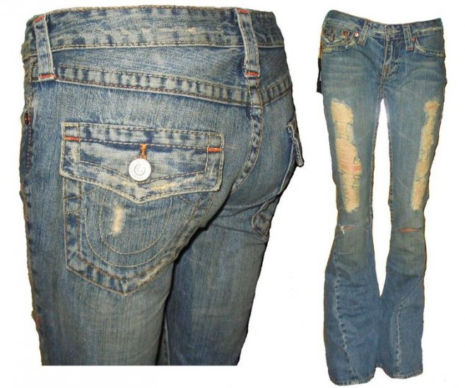 True Religion Joey Jean in Destroyed Gold Rush - Size 26