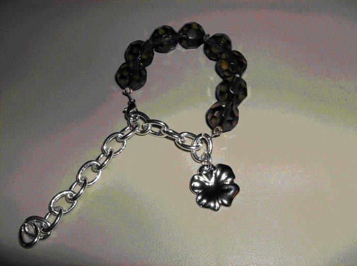 Black crystal adjustable bracelet