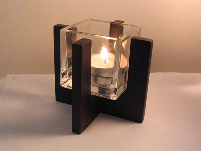 Solid wood candle holder  (P1076-1)
