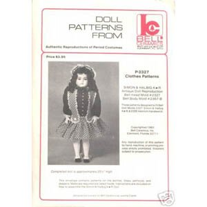 P-2327 Authentic Reproduction of Period Costume Doll Clothes Pattern