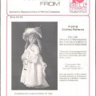 P-2418 Authentic Reproduction of Period Costume Doll Clothes Pattern