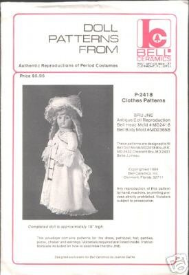 P-2092 Authentic Reproduction of Period Costume Doll Clothes Pattern