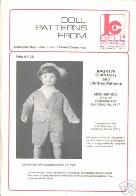 RP-2417A Authentic Reproduction of Period Doll Clothes Pattern