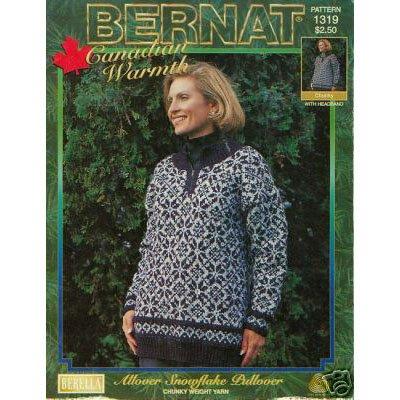 Bernat Knit Allover Snowflake Pullover