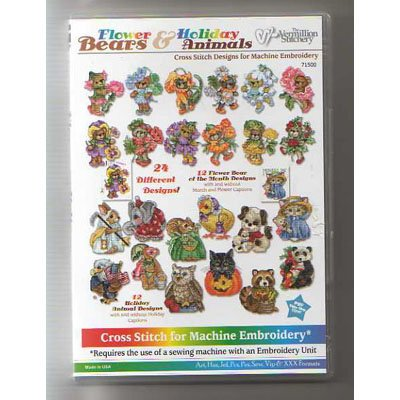 Flower Bears and Holiday Animals Embroidery Designs on CD from the Vermillion Stitchery