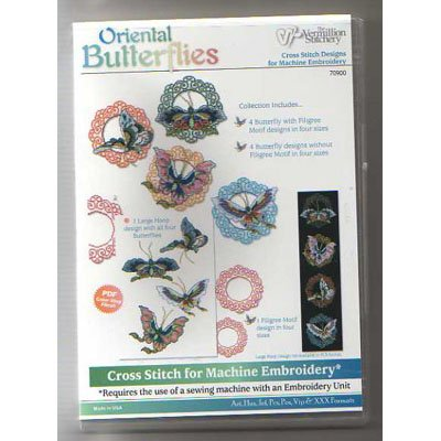 Oriental Butterflies Embroidery Designs on CD from the Vermillion Stitchery