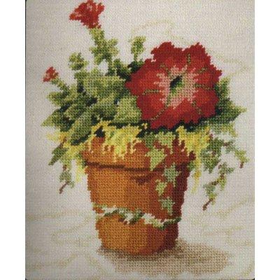 Red Petunias Needlepoint Canvas