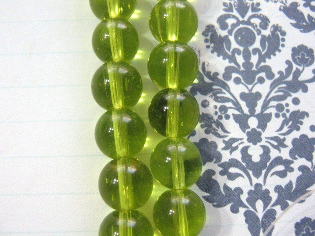 Bead Glass Olivine Green Transparent 10mm Round