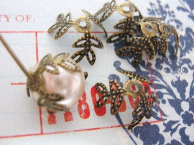 Flower Bead caps 12mm Antiqued Bronze Finish