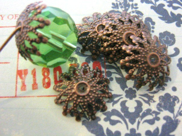 Snowflake Bead Caps 18mm Antiqued Copper Nickel Free