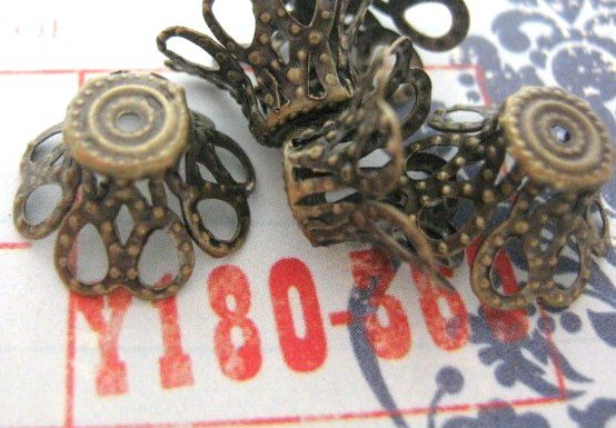 Fancy Bead cap 12x8mm Antiqued Bronze Finish 24 Beadcaps