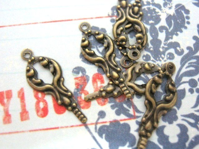 Key Charm 7x14mm Antiqued Bronze Finish 30 Pieces