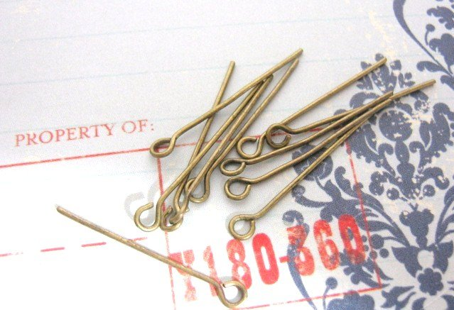 1 Inch Eyepin - Antiqued Bronze Finish - 100 Pieces