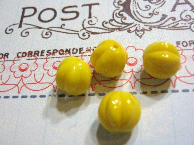 Yellow Czech Glass Beads 8mm Melon Round