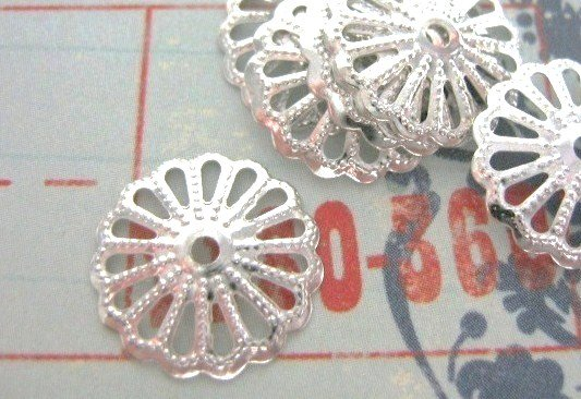 Filigree Bead caps Silver Plated Finish 13mm Round
