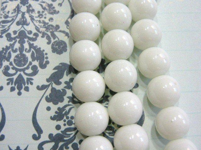 White Glass Beads 6mm Round