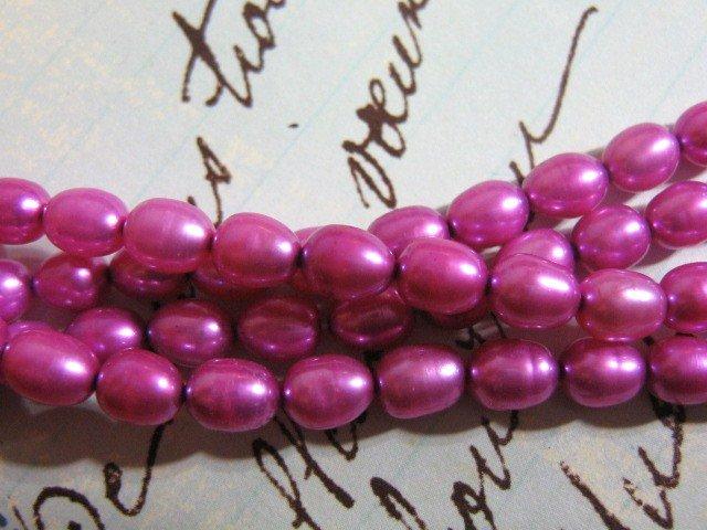 Fuschia 5mm Potato Freshwater Pearls 31 Beads