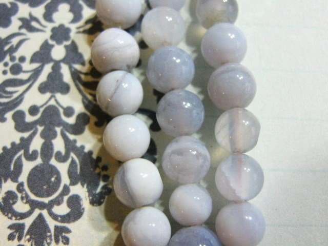Blue Lace Agate Beads 6mm Round 32 Stones