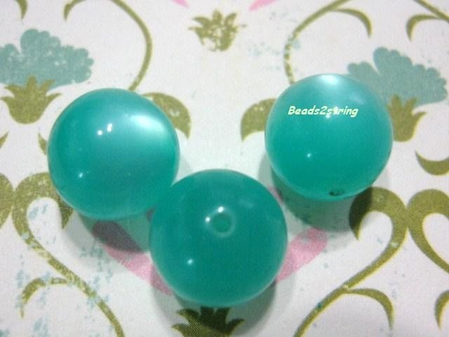 Vintage Lucite Beads Aqua Moonglow 11mm Round 13 Beads  Beads2string.com