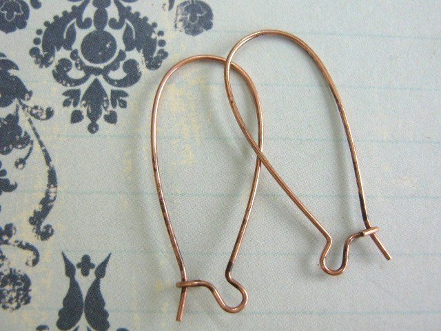 Kidney Ear Wires 33x12mm Antiqued Copper Finish Nickel Free 14 Pieces