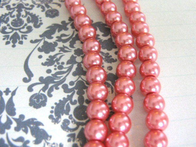 Glass Faux Pearls Pink 8mm Round Beads