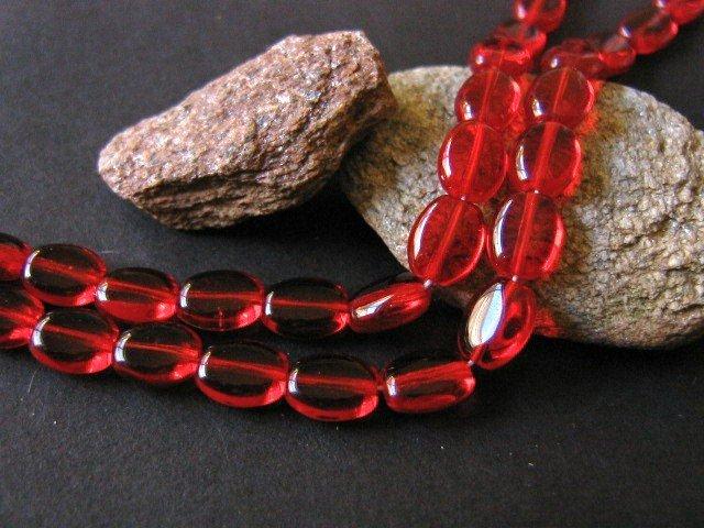 Czech Garnet Red Glass Bead 6x8mm Flat Oval
