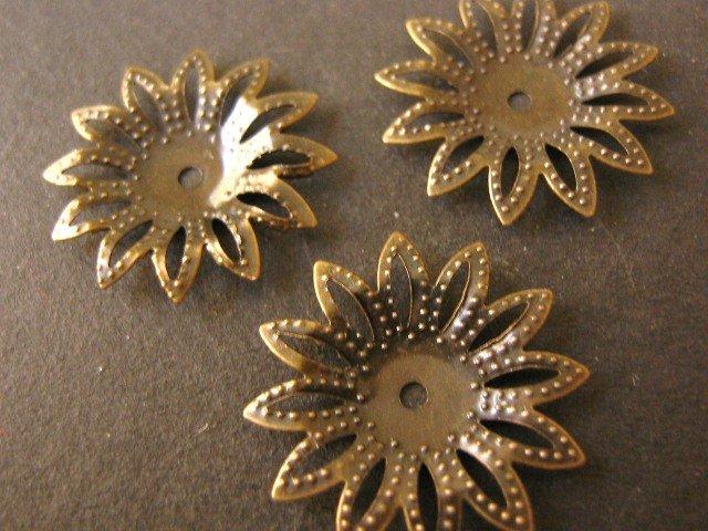 Bead Caps Spike Flower 18mm Antiqued Bronze Nickel Free