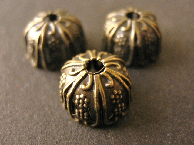 Floral Bead Caps 9x6mm Antique Bronze Findings
