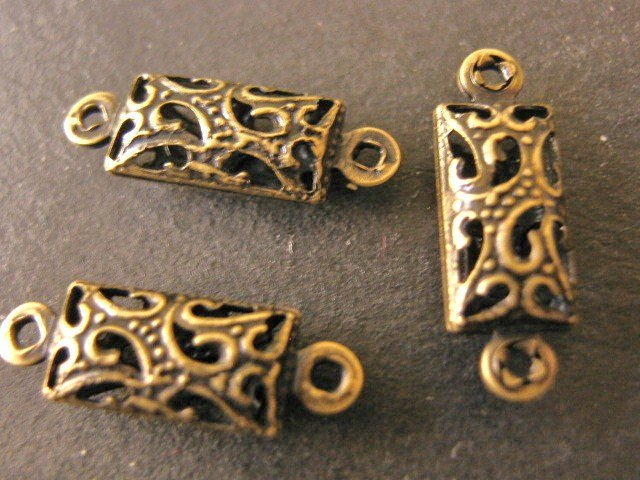 Findings Filigree Connectors 16x5mm Links Antique Bronze Finish