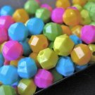 6mm Faceted Round Assorted Opaque Colors Plastic Beads