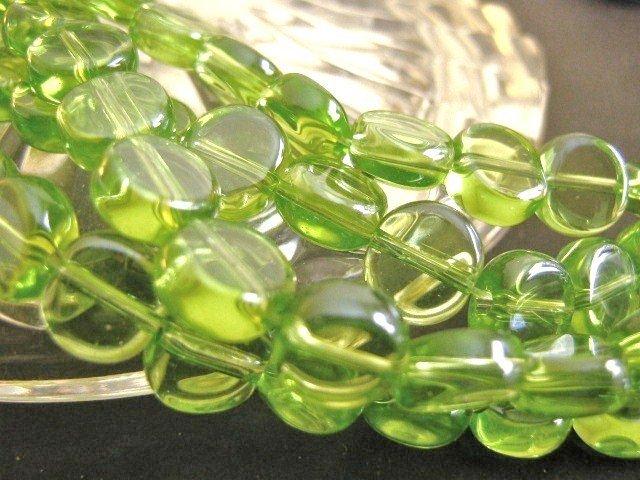 Peridot Green Glass Beads 8mm Coin Transparent