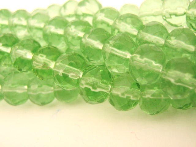 Transparent Green 6x8mm Rondelle Glass Beads