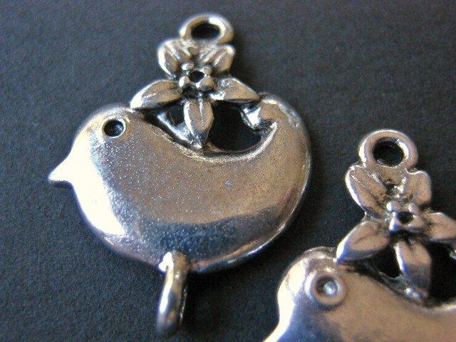 Flower Bird Connector 17x22mm Antique Silver