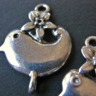 Flower Bird Connector 17x22mm Antique Silver
