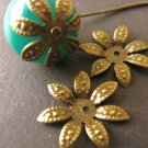 Dotted Flower Bead Caps 17mm Antique Bronze