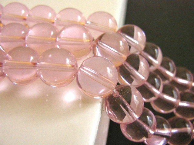 Transparent Pink 10mm Round Glass Beads