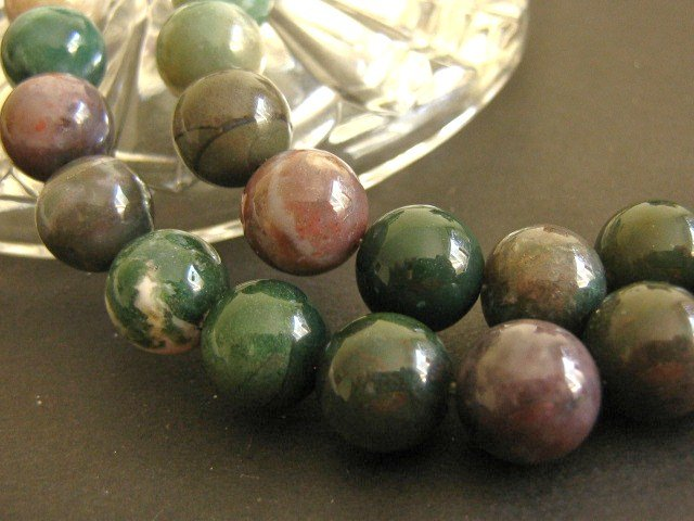 Indian Agate 6mm Round Green Gemstone Beads