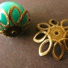 Spike Flower Bead Caps 22mm Antique Bronze