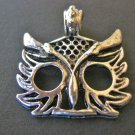 Owl Face Charm 25x24mm Antique Silver Finish Pendants